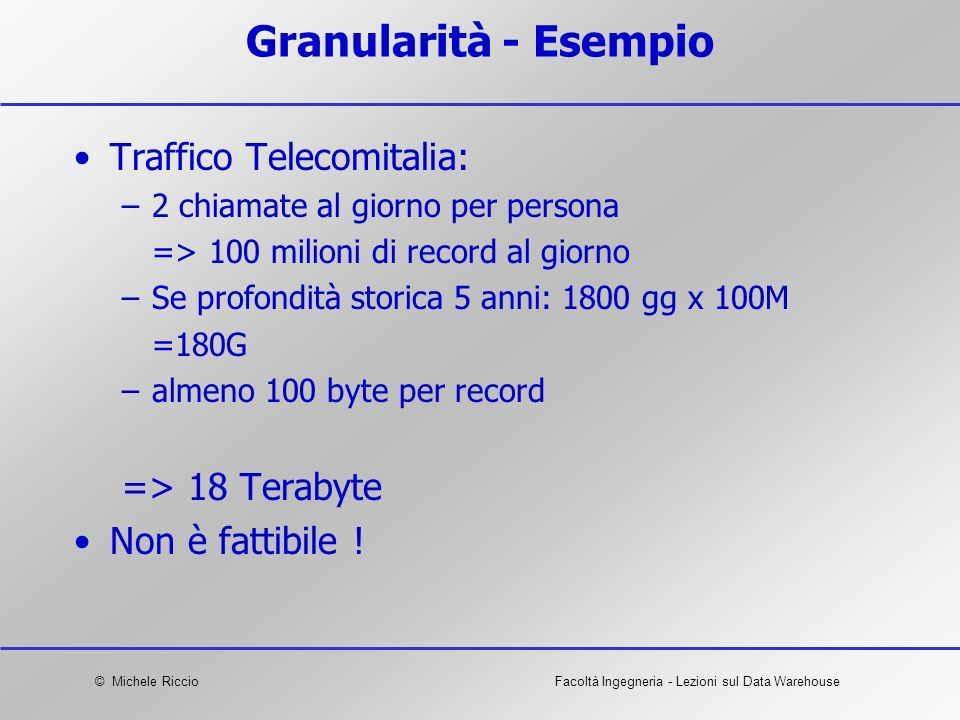 © Michele RiccioFacoltà Ingegneria - Lezioni sul Data Warehouse Granularità - Esempio Traffico Telecomitalia: –2 chiamate al giorno per persona => 100