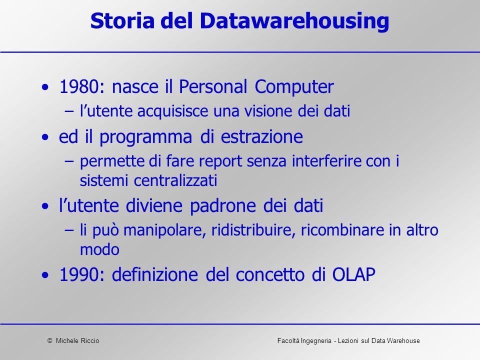 © Michele RiccioFacoltà Ingegneria - Lezioni sul Data Warehouse Storia del Datawarehousing 1980: nasce il Personal Computer –lutente acquisisce una vi