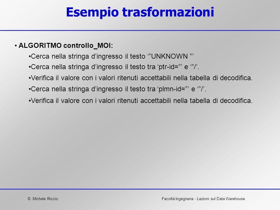 © Michele RiccioFacoltà Ingegneria - Lezioni sul Data Warehouse Esempio trasformazioni ALGORITMO controllo_MOI: Cerca nella stringa dingresso il testo