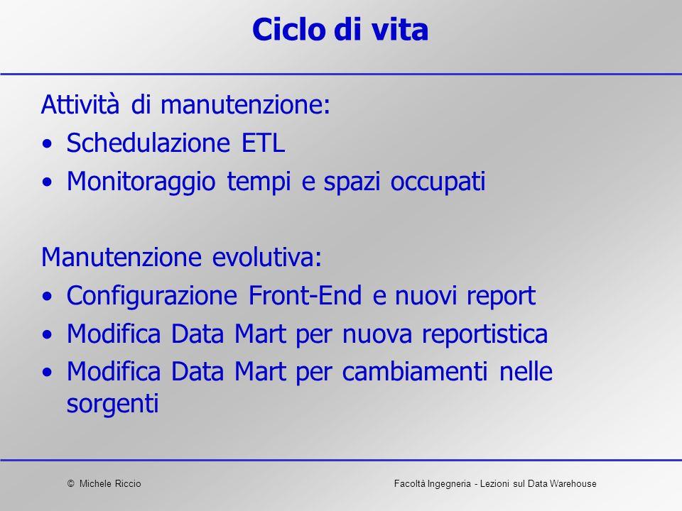© Michele RiccioFacoltà Ingegneria - Lezioni sul Data Warehouse Ciclo di vita Attività di manutenzione: Schedulazione ETL Monitoraggio tempi e spazi o