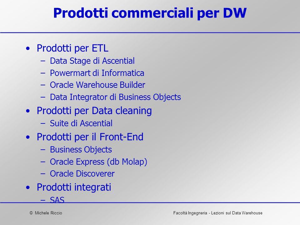 © Michele RiccioFacoltà Ingegneria - Lezioni sul Data Warehouse Prodotti commerciali per DW Prodotti per ETL –Data Stage di Ascential –Powermart di In