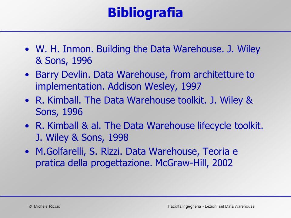 © Michele RiccioFacoltà Ingegneria - Lezioni sul Data Warehouse Bibliografia W. H. Inmon. Building the Data Warehouse. J. Wiley & Sons, 1996 Barry Dev