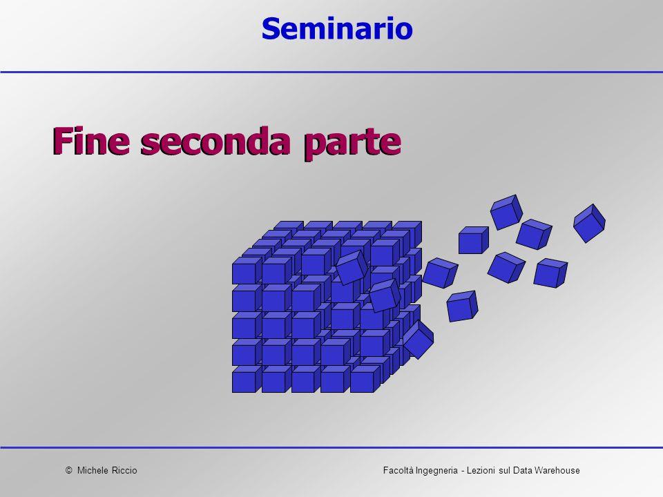 © Michele RiccioFacoltà Ingegneria - Lezioni sul Data Warehouse Seminario Fine seconda parte