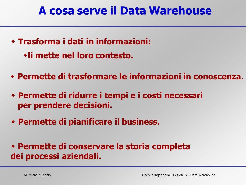 © Michele RiccioFacoltà Ingegneria - Lezioni sul Data Warehouse A cosa serve il Data Warehouse Trasforma i dati in informazioni: li mette nel loro con