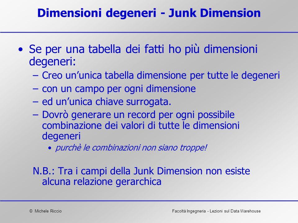 © Michele RiccioFacoltà Ingegneria - Lezioni sul Data Warehouse Dimensioni degeneri - Junk Dimension Se per una tabella dei fatti ho più dimensioni de
