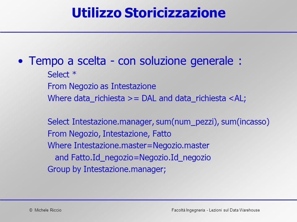 © Michele RiccioFacoltà Ingegneria - Lezioni sul Data Warehouse Utilizzo Storicizzazione Tempo a scelta - con soluzione generale : Select * From Negoz