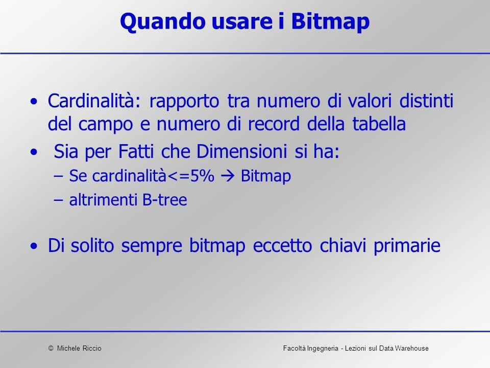 © Michele RiccioFacoltà Ingegneria - Lezioni sul Data Warehouse Quando usare i Bitmap Cardinalità: rapporto tra numero di valori distinti del campo e
