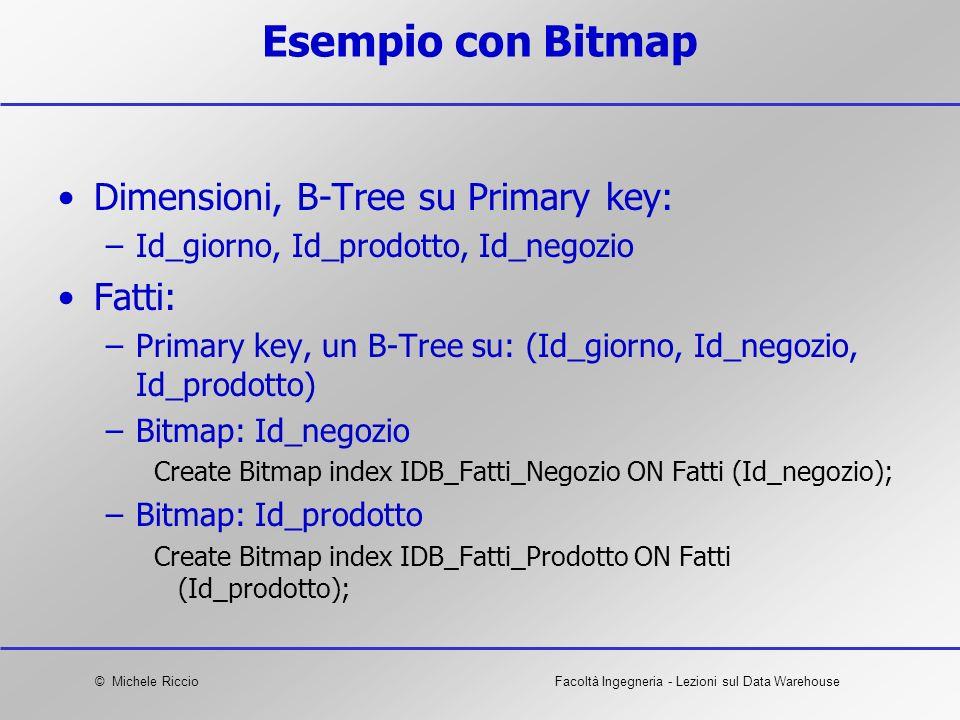 © Michele RiccioFacoltà Ingegneria - Lezioni sul Data Warehouse Esempio con Bitmap Dimensioni, B-Tree su Primary key: –Id_giorno, Id_prodotto, Id_nego