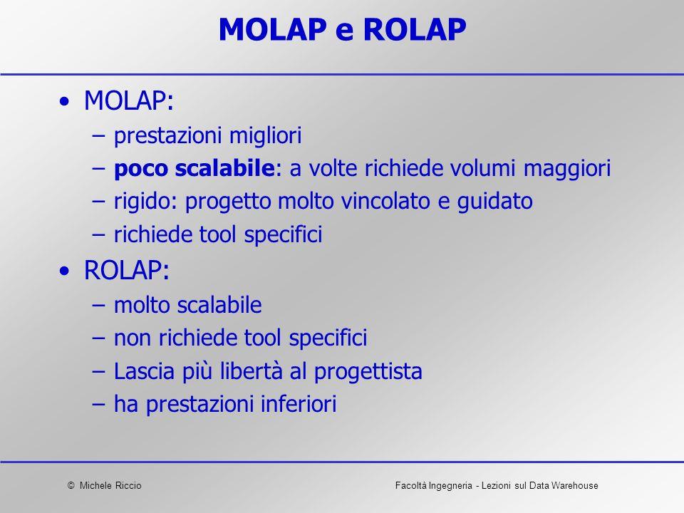 © Michele RiccioFacoltà Ingegneria - Lezioni sul Data Warehouse MOLAP e ROLAP MOLAP: –prestazioni migliori –poco scalabile: a volte richiede volumi ma