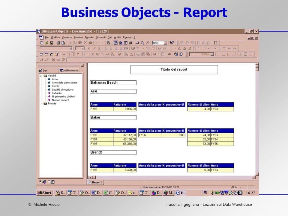 © Michele RiccioFacoltà Ingegneria - Lezioni sul Data Warehouse Business Objects - Report