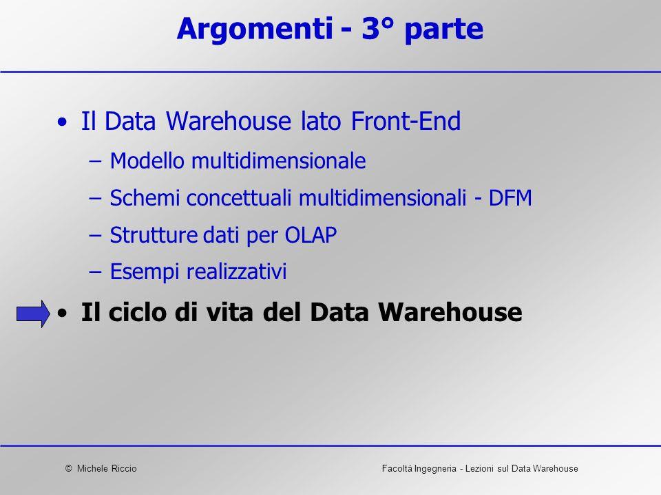 © Michele RiccioFacoltà Ingegneria - Lezioni sul Data Warehouse Argomenti - 3° parte Il Data Warehouse lato Front-End –Modello multidimensionale –Sche