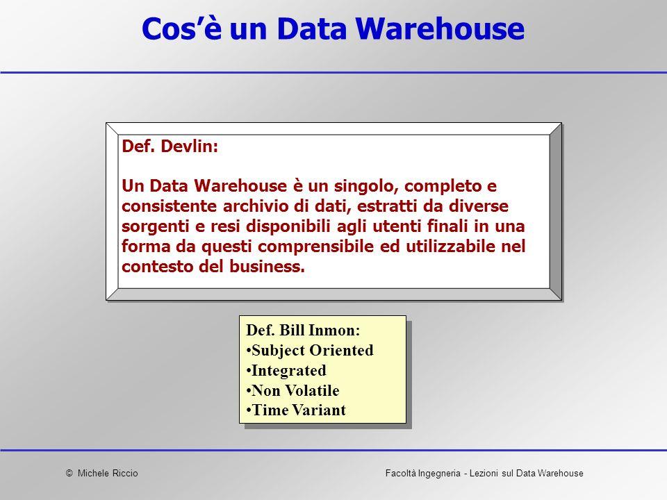 © Michele RiccioFacoltà Ingegneria - Lezioni sul Data Warehouse Cosè un Data Warehouse Def. Bill Inmon: Subject Oriented Integrated Non Volatile Time
