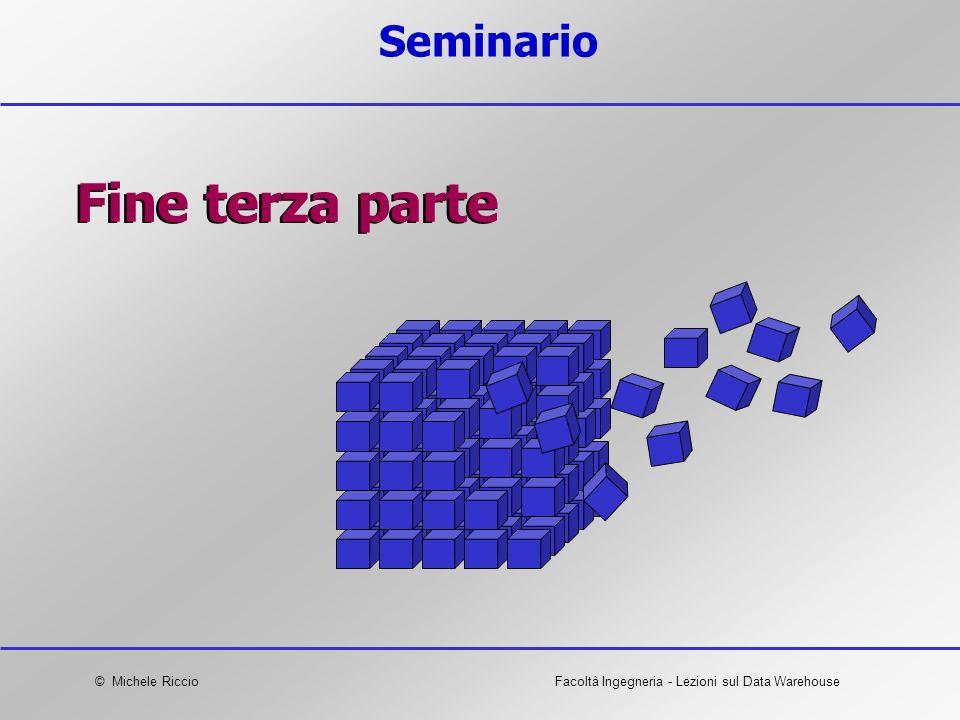 © Michele RiccioFacoltà Ingegneria - Lezioni sul Data Warehouse Seminario Fine terza parte