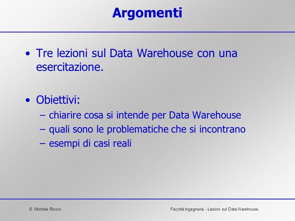 © Michele RiccioFacoltà Ingegneria - Lezioni sul Data Warehouse Argomenti Tre lezioni sul Data Warehouse con una esercitazione. Obiettivi: –chiarire c