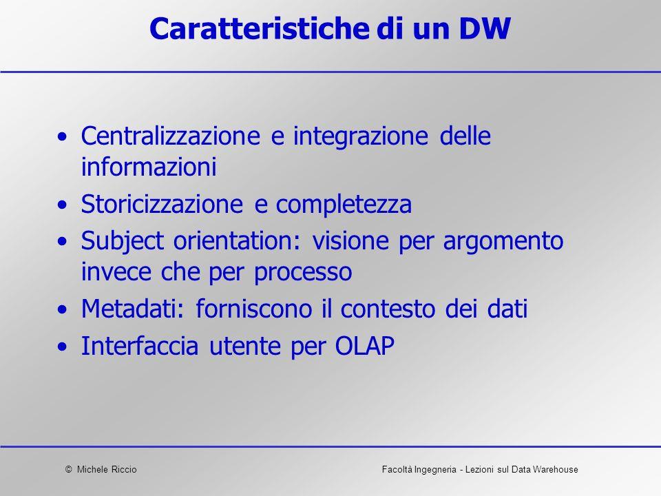 © Michele RiccioFacoltà Ingegneria - Lezioni sul Data Warehouse Caratteristiche di un DW Centralizzazione e integrazione delle informazioni Storicizza