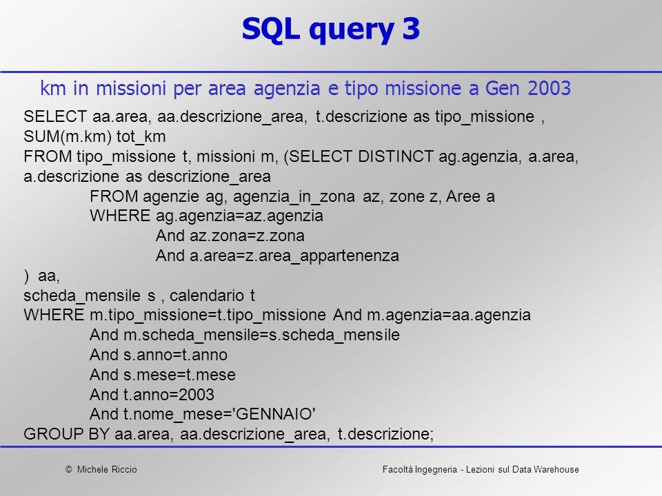 © Michele RiccioFacoltà Ingegneria - Lezioni sul Data Warehouse SQL query 3 SELECT aa.area, aa.descrizione_area, t.descrizione as tipo_missione, SUM(m