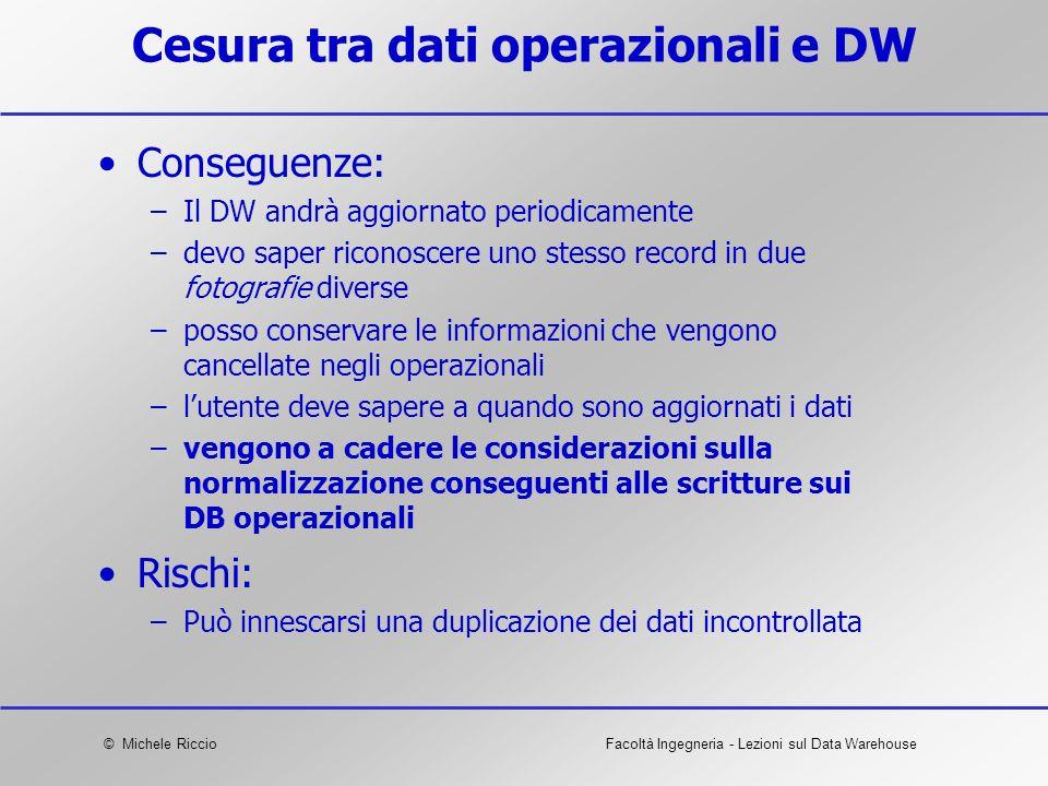 © Michele RiccioFacoltà Ingegneria - Lezioni sul Data Warehouse Cesura tra dati operazionali e DW Conseguenze: –Il DW andrà aggiornato periodicamente