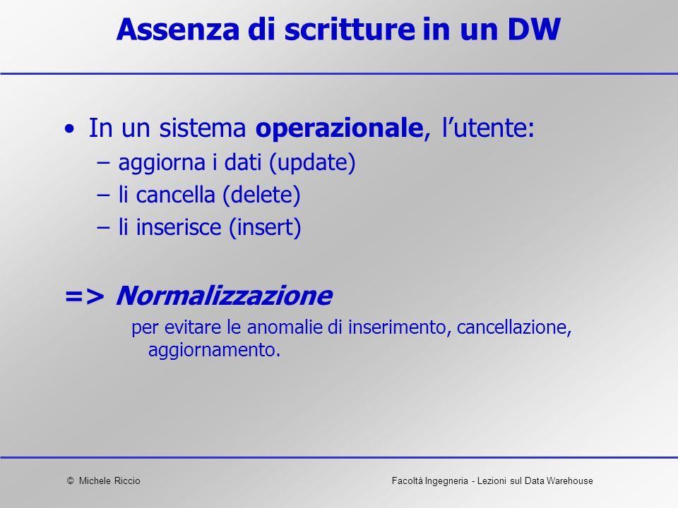 © Michele RiccioFacoltà Ingegneria - Lezioni sul Data Warehouse Assenza di scritture in un DW In un sistema operazionale, lutente: –aggiorna i dati (u