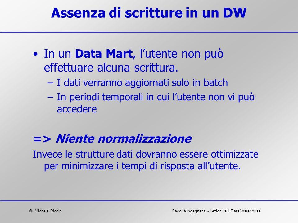 © Michele RiccioFacoltà Ingegneria - Lezioni sul Data Warehouse Assenza di scritture in un DW In un Data Mart, lutente non può effettuare alcuna scrit
