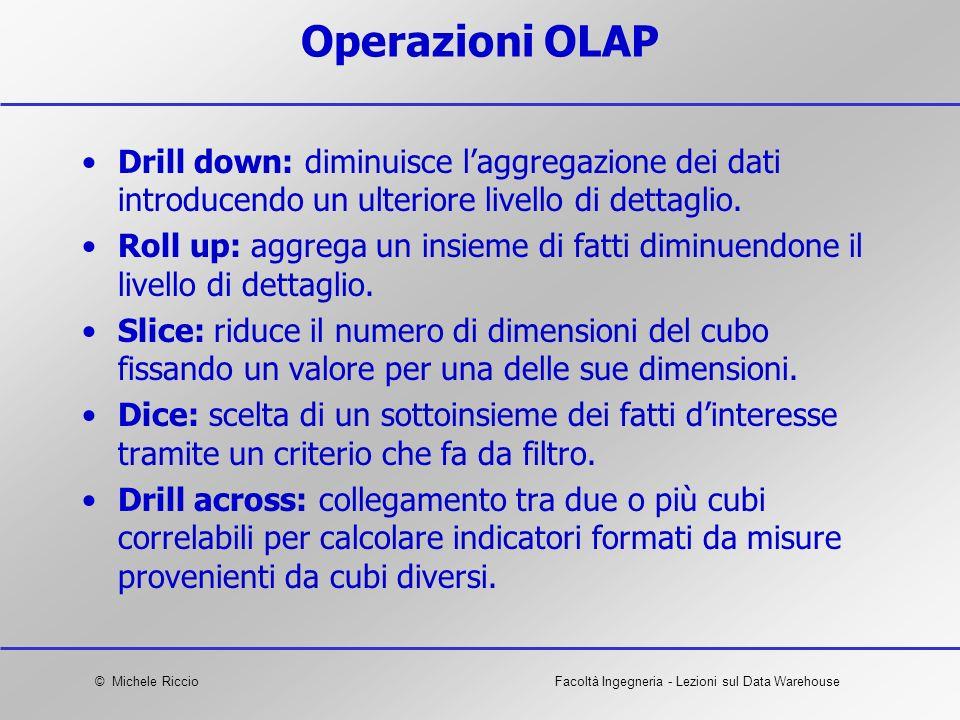 © Michele RiccioFacoltà Ingegneria - Lezioni sul Data Warehouse Operazioni OLAP Drill down: diminuisce laggregazione dei dati introducendo un ulterior