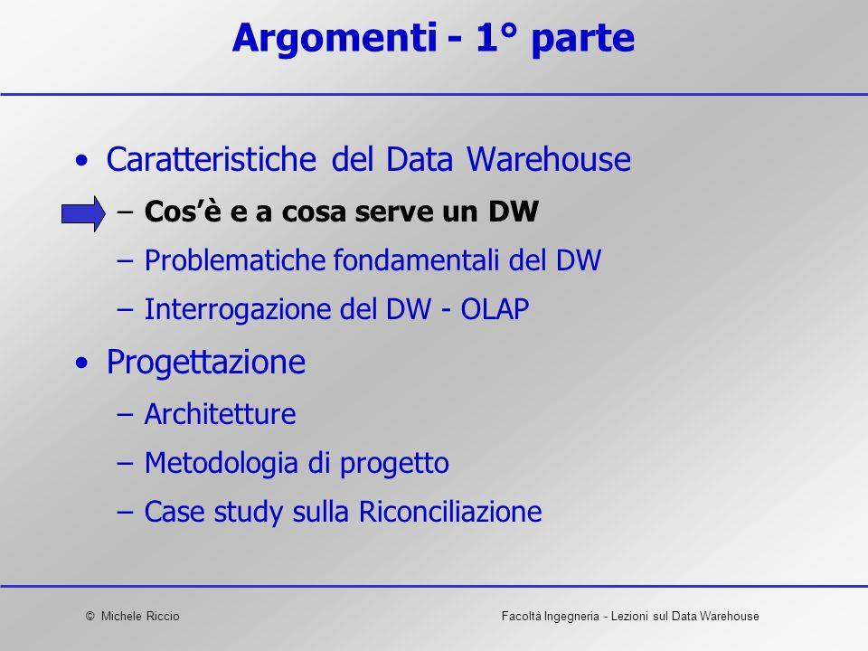 © Michele RiccioFacoltà Ingegneria - Lezioni sul Data Warehouse Argomenti - 1° parte Caratteristiche del Data Warehouse –Cosè e a cosa serve un DW –Pr