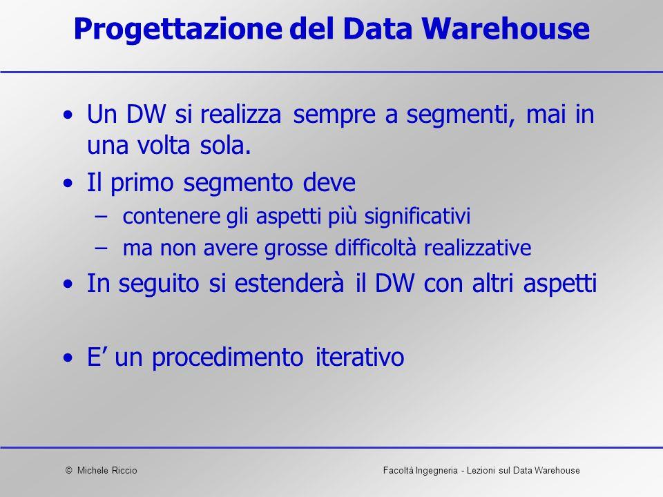 © Michele RiccioFacoltà Ingegneria - Lezioni sul Data Warehouse Progettazione del Data Warehouse Un DW si realizza sempre a segmenti, mai in una volta