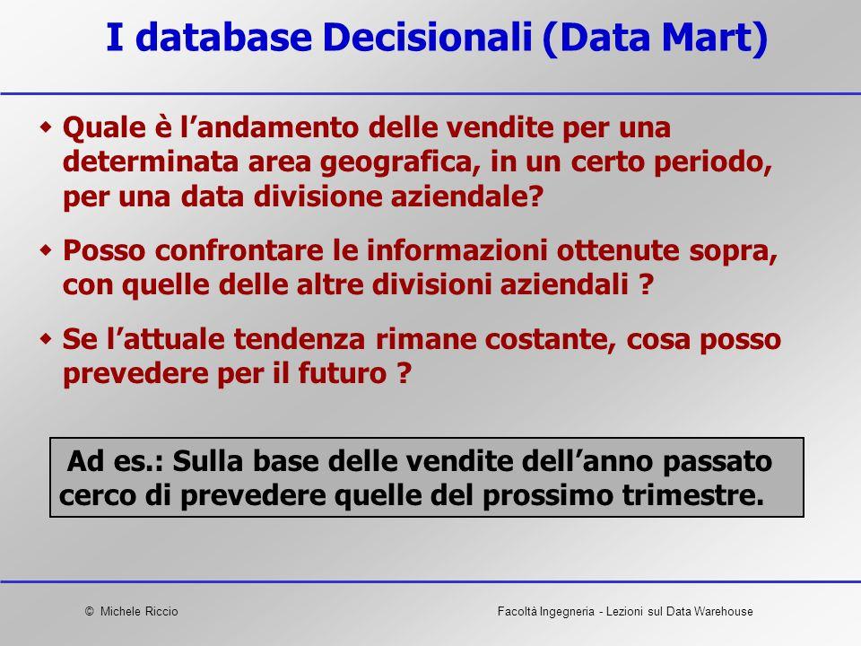 © Michele RiccioFacoltà Ingegneria - Lezioni sul Data Warehouse I database Decisionali (Data Mart) Quale è landamento delle vendite per una determinat