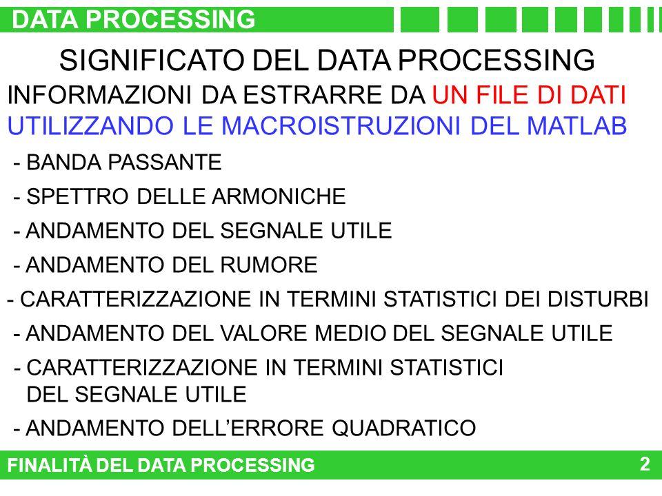 FINALITÀ DEL DATA PROCESSING DATA PROCESSING 2 SIGNIFICATO DEL DATA PROCESSING - BANDA PASSANTE - ANDAMENTO DEL SEGNALE UTILE - ANDAMENTO DEL RUMORE -