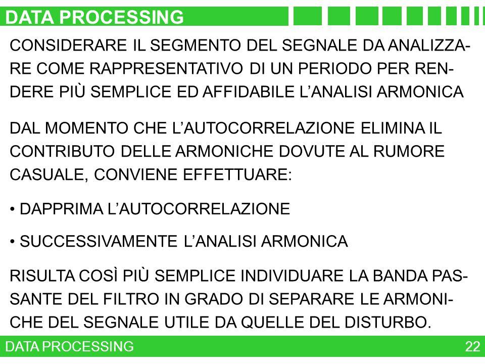 DATA PROCESSING 22 RISULTA COSÌ PIÙ SEMPLICE INDIVIDUARE LA BANDA PAS- SANTE DEL FILTRO IN GRADO DI SEPARARE LE ARMONI- CHE DEL SEGNALE UTILE DA QUELL
