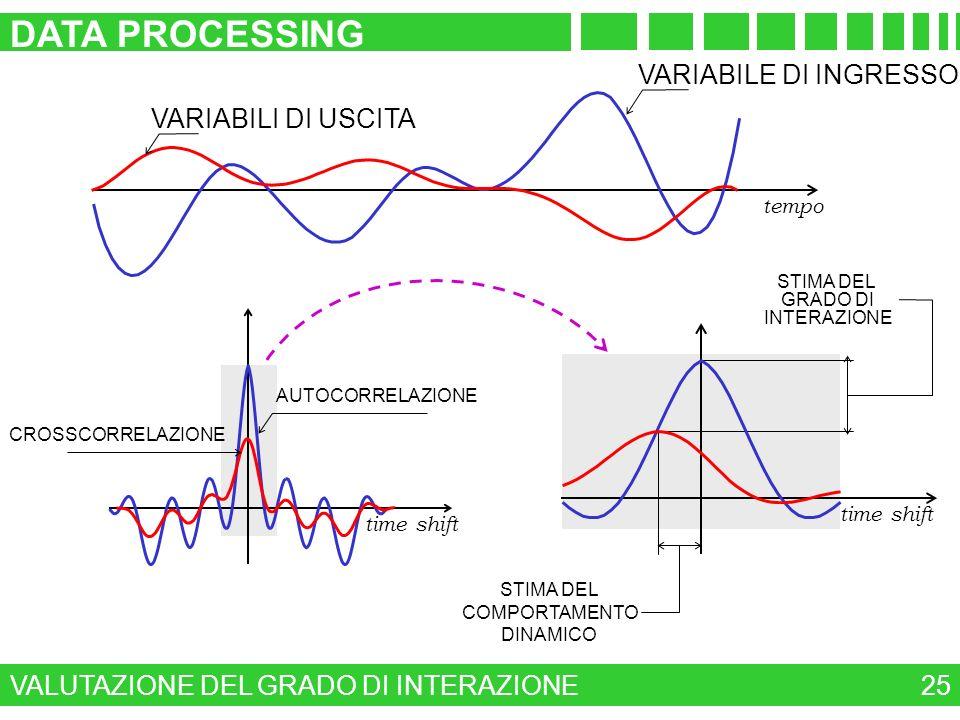 time shift VALUTAZIONE DEL GRADO DI INTERAZIONE DATA PROCESSING 25 tempo VARIABILE DI INGRESSO VARIABILI DI USCITA time shift AUTOCORRELAZIONE CROSSCO