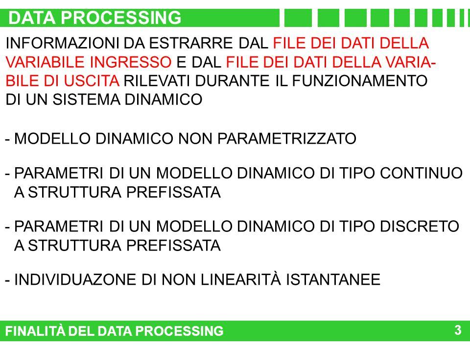 FINALITÀ DEL DATA PROCESSING DATA PROCESSING 3 INFORMAZIONI DA ESTRARRE DAL FILE DEI DATI DELLA VARIABILE INGRESSO E DAL FILE DEI DATI DELLA VARIA- BI