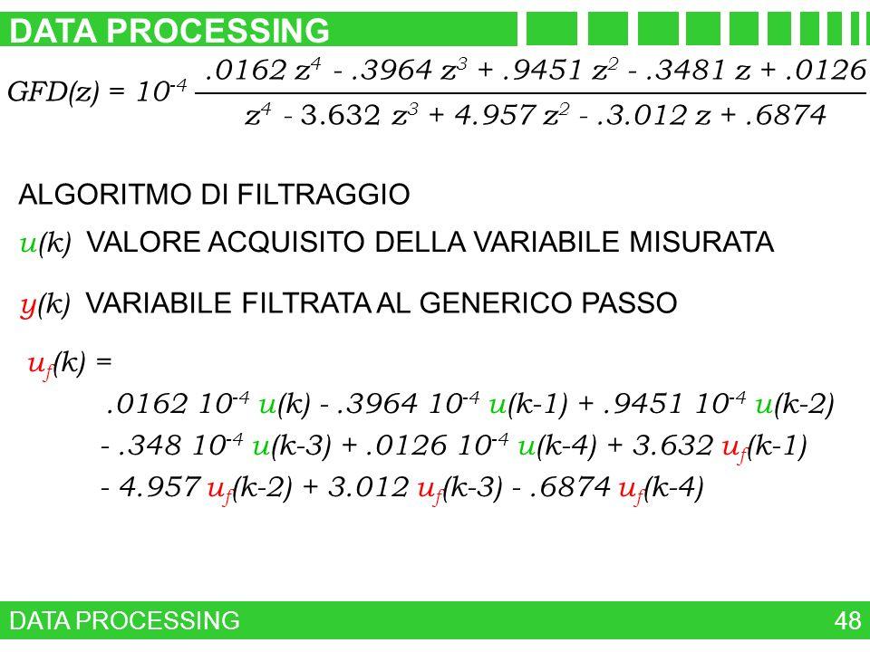 DATA PROCESSING 48 GFD(z) = 10 -4 z 4 - 3.632 z 3 + 4.957 z 2 -.3.012 z +.6874.0162 z 4 -.3964 z 3 +.9451 z 2 -.3481 z +.0126 ALGORITMO DI FILTRAGGIO