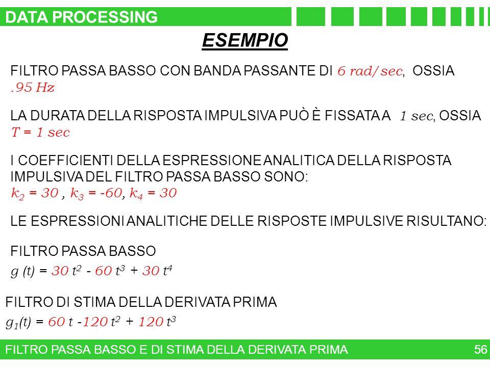 FILTRO PASSA BASSO E DI STIMA DELLA DERIVATA PRIMA 56 ESEMPIO FILTRO PASSA BASSO CON BANDA PASSANTE DI 6 rad/sec, OSSIA.95 Hz LA DURATA DELLA RISPOSTA