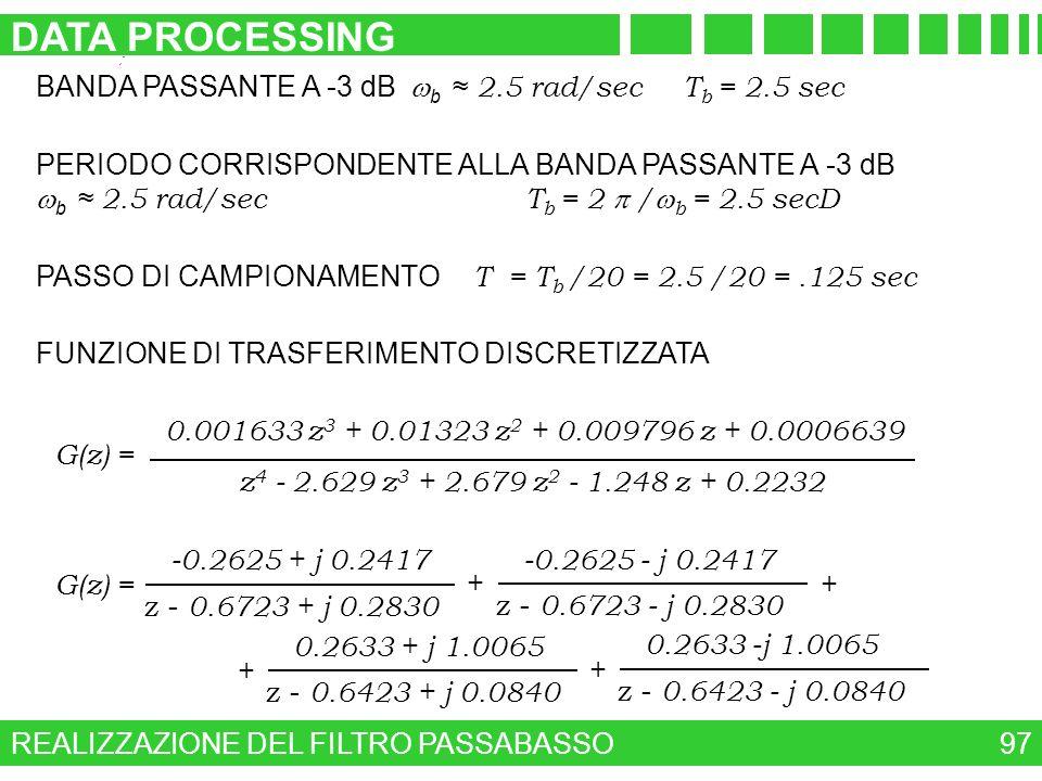 REALIZZAZIONE DEL FILTRO PASSABASSO DATA PROCESSING 97 BANDA PASSANTE A -3 dB b 2.5 rad/sec T b = 2.5 sec PERIODO CORRISPONDENTE ALLA BANDA PASSANTE A