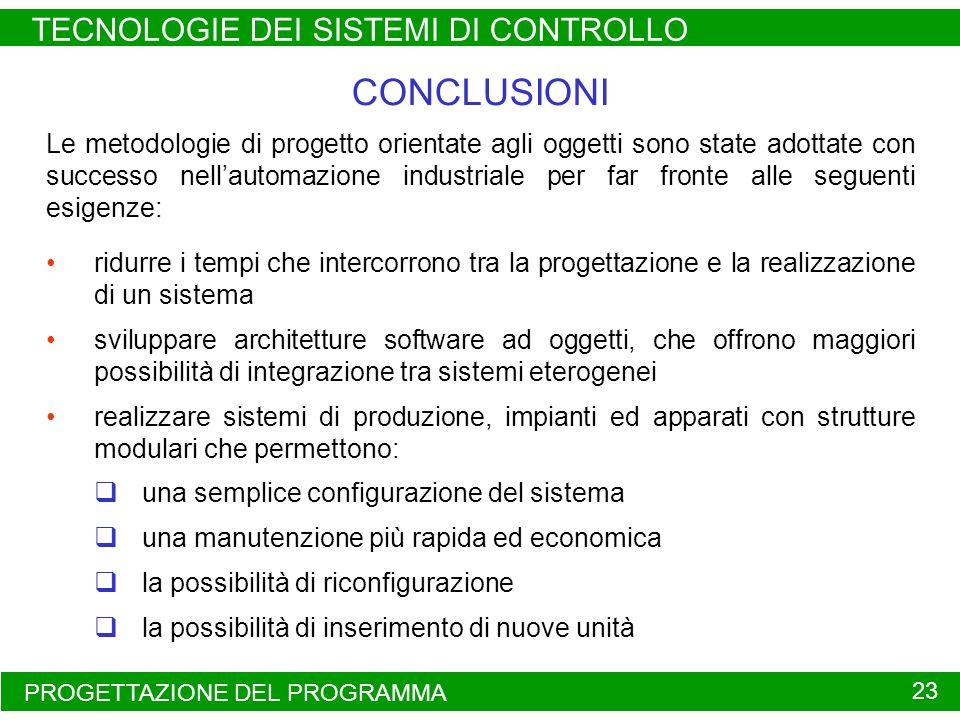 PROGETTAZIONE DEL PROGRAMMA TECNOLOGIE DEI SISTEMI DI CONTROLLO 23 Le metodologie di progetto orientate agli oggetti sono state adottate con successo