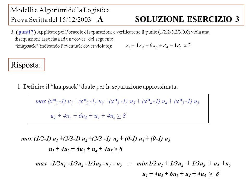 Modelli e Algoritmi della Logistica Prova Scritta del 15/12/2003 A SOLUZIONE ESERCIZIO 3 max (x* 1 -1) u 1 +(x* 2 -1) u 2 +(x* 3 -1) u 3 + (x* 4 -1) u 4 + (x* 5 -1) u 5 1.