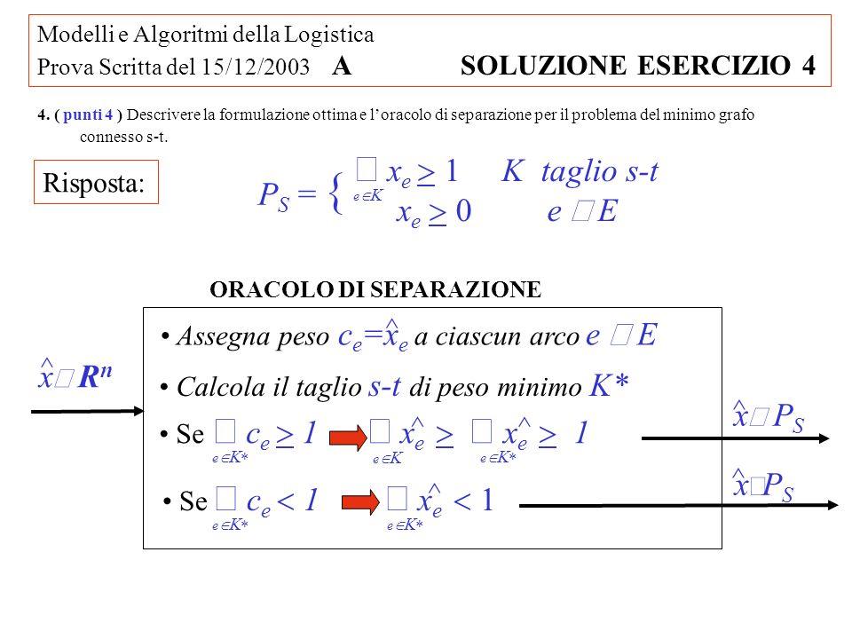 Modelli e Algoritmi della Logistica Prova Scritta del 15/12/2003 A SOLUZIONE ESERCIZIO 4 4. ( punti 4 ) Descrivere la formulazione ottima e loracolo d