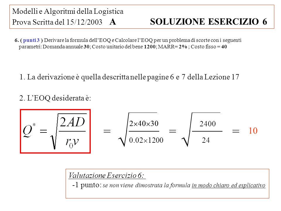 Modelli e Algoritmi della Logistica Prova Scritta del 15/12/2003 A SOLUZIONE ESERCIZIO 6 6. ( punti 3 ) Derivare la formula dellEOQ e Calcolare lEOQ p