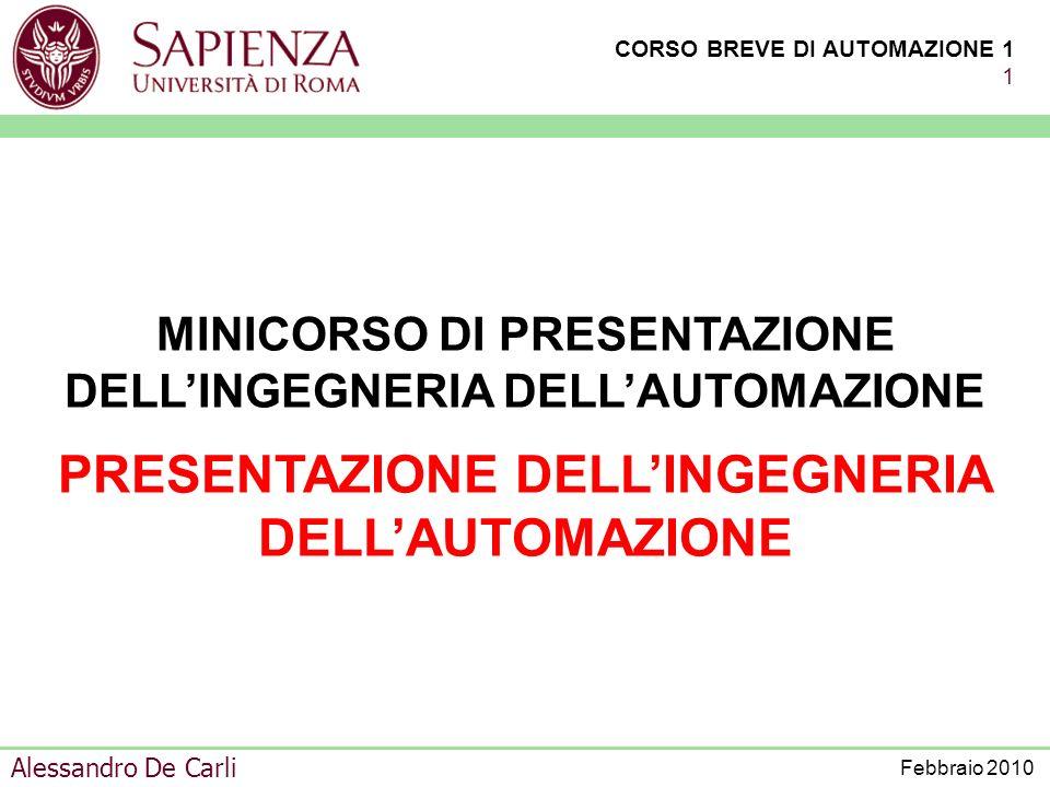 CORSO BREVE DI AUTOMAZIONE 1 71 Alessandro De Carli Febbraio 2010 SISTEMA CONTROLLATO COMPLESSO VARIABILI DI COMANDO VARIABILI DI CONTROLLO VARIABILI DI GESTIONE PRESTAZIONI VARIABILI CONTROLLATE STRUMENTAZIONE RETI DI COMUNICAZIONE MODALITÀ DI CONTROLLO GESTIONE MODALITÀ DI CONDUZIONE, GESTIONE ED ESERCIZIO CONDUZIONE DEGLI IMPIANTI VARIABILI DI CONDUZIONE IMPIANTI SISTEMA DI CONTROLLO GESTIONE DEL SISTEMA CONTROLLATO COMPLESSO APPARATI ELEMENTI SINGOLI CONTROLLO COORDINAMENTO AZIONI DI CONTROLLO SUI SINGOLI ELEMENTI VERIFICA DI APPLICABILITÀ DELLE AZIONI DI CONTROLLO