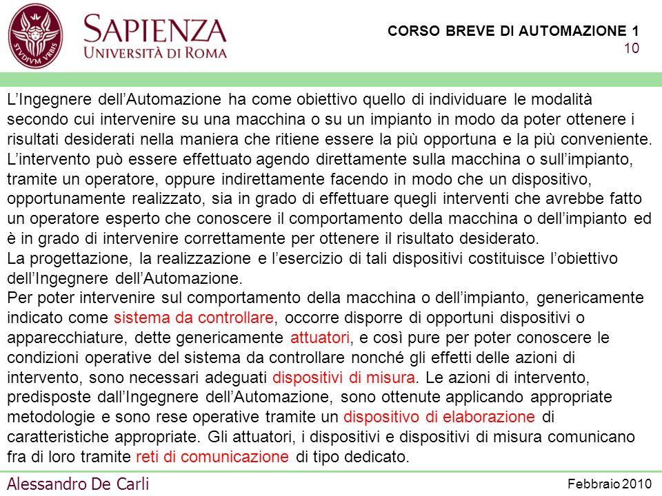 CORSO BREVE DI AUTOMAZIONE 1 9 Alessandro De Carli Febbraio 2010 REALIZZAZIONI CON TECNOLOGIE MECCANICHE REALIZZAZIONI CON TECNOLOGIE ELETTRICHE REALI