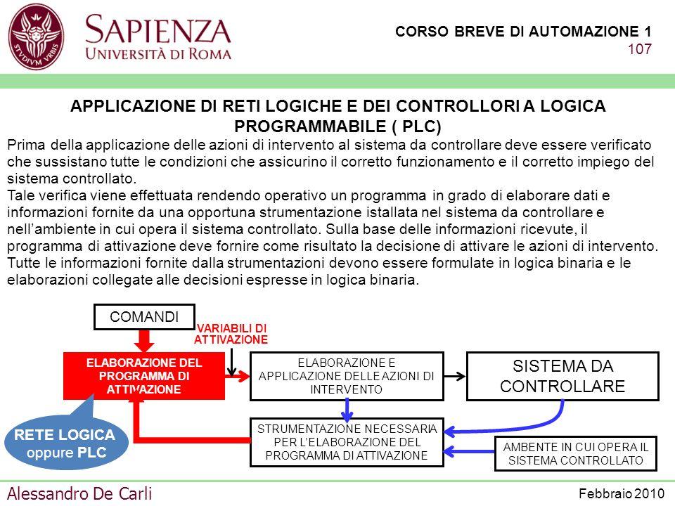CORSO BREVE DI AUTOMAZIONE 1 106 Alessandro De Carli Febbraio 2010 MINICORSO DI PRESENTAZIONE DELLINGEGNERIA DELLAUTOMAZIONE PROGRAMMABLE LOGIC CONTRO