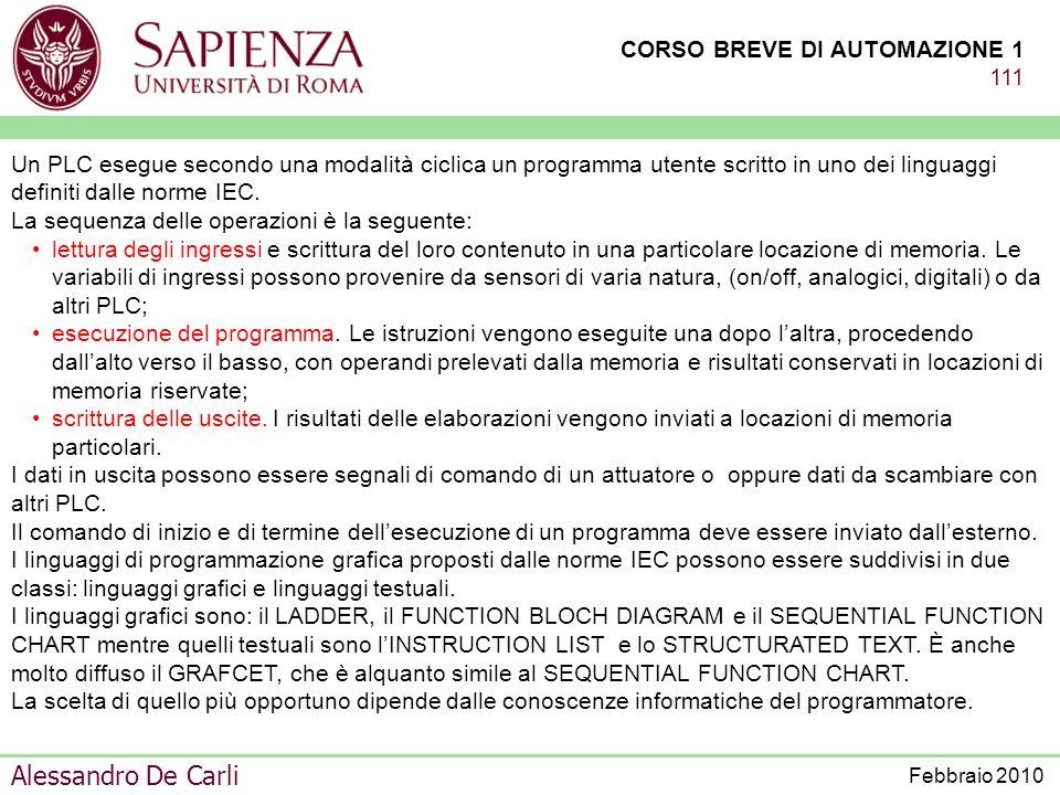 CORSO BREVE DI AUTOMAZIONE 1 110 Alessandro De Carli Febbraio 2010 Un PLC è composto da un alimentatore, dalla CPU che in certi casi può avere interna