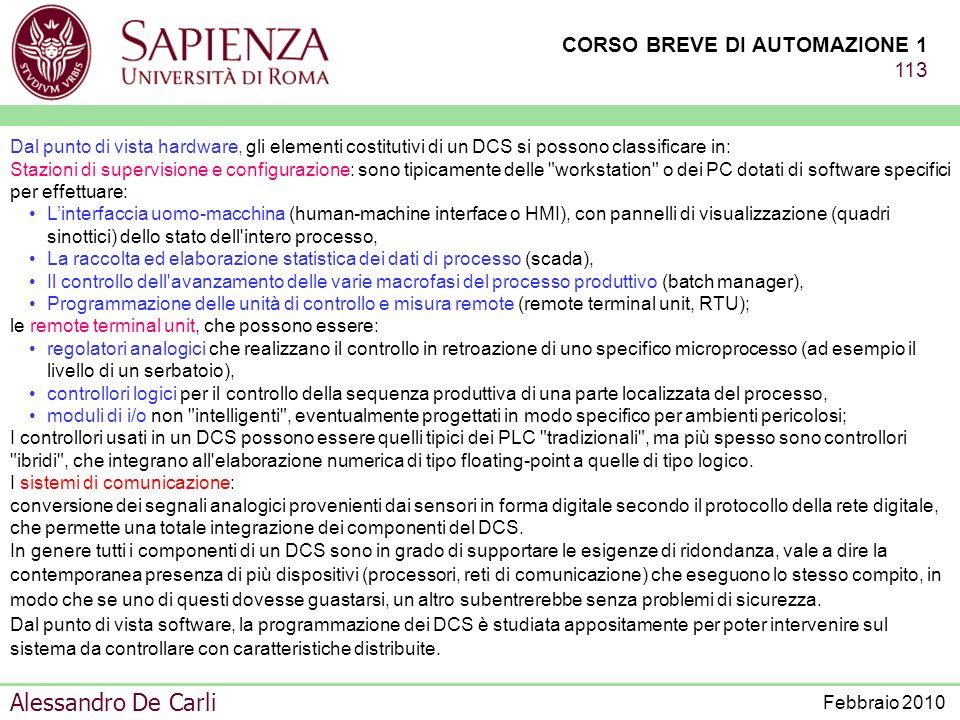 CORSO BREVE DI AUTOMAZIONE 1 112 Alessandro De Carli Febbraio 2010 D C S (SISTEMI A CONTROLLO DISTRIBUITO) I sistemi a controllo distribuiti (distibui