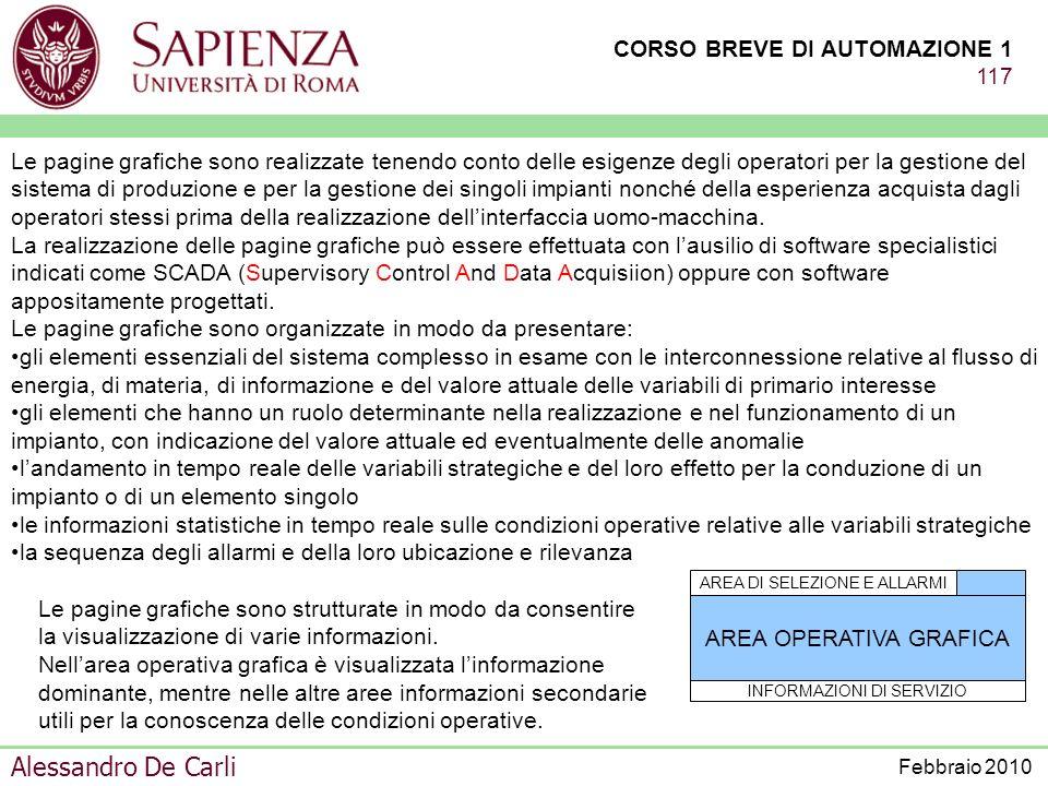CORSO BREVE DI AUTOMAZIONE 1 116 Alessandro De Carli Febbraio 2010 INTERFACCIA UOMO-MACCHINA aiuto alloperatore per la corretta conduzione del sistema