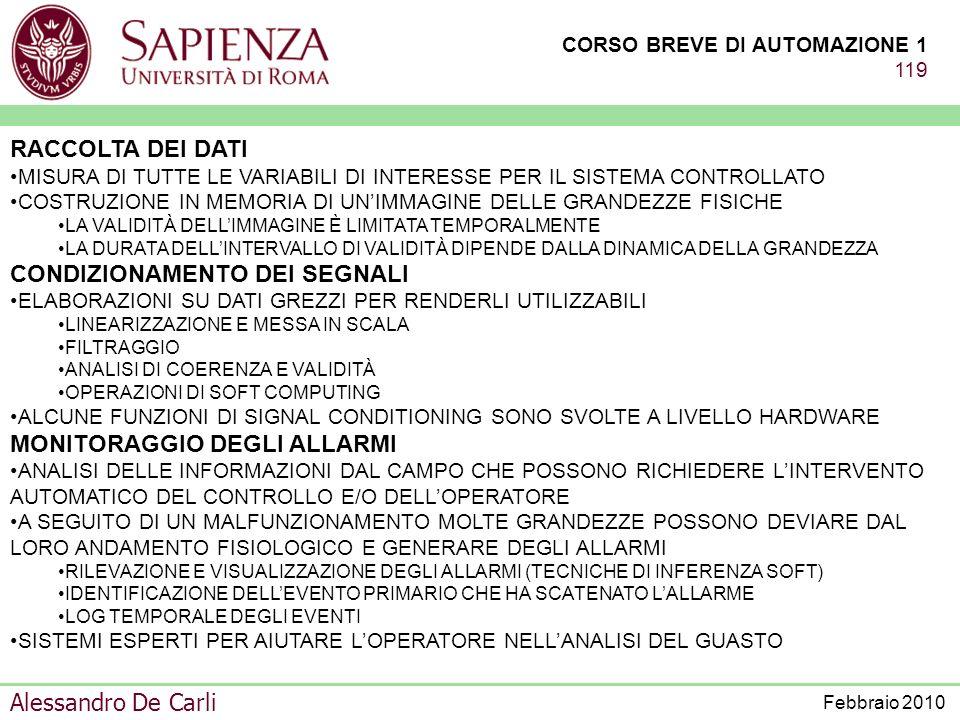 CORSO BREVE DI AUTOMAZIONE 1 118 Alessandro De Carli Febbraio 2010 FUNZIONI PREVALENTI –ACQUISIZIONE DATI (NUMEROSI CANALI) –ALGORITMI DI CONTROLLO TI