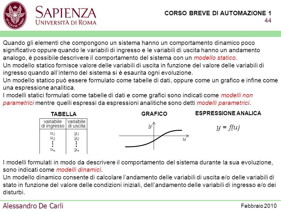 CORSO BREVE DI AUTOMAZIONE 1 43 Alessandro De Carli Febbraio 2010 Per la formulazione di un modello idoneo alla simulazione in realtà virtuale occorre