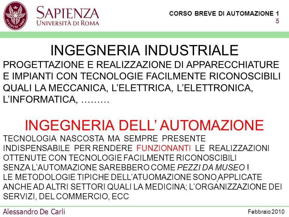 CORSO BREVE DI AUTOMAZIONE 1 15 Alessandro De Carli Febbraio 2010 ALCUNE FRA LE PROFESSIONALITÀ RICHIESTE PROGETTISTA DI SISTEMI DI AUTOMAZIONE CONDUTTORE DEL SISTEMA CONROLLATI COMPLESSI ADDETTO ALLA STRUMENTAZIONE RESPONSABILE DEL CONTROLLO DEI SINGOLI IMPIANTI PROGETTISTA DI SISTEMI DI CONTROLLO PROGETTISTA DI STRUMENTAZIONE EVOLUTA GESTORE DELLA RETE DI COMUNICAZIONE
