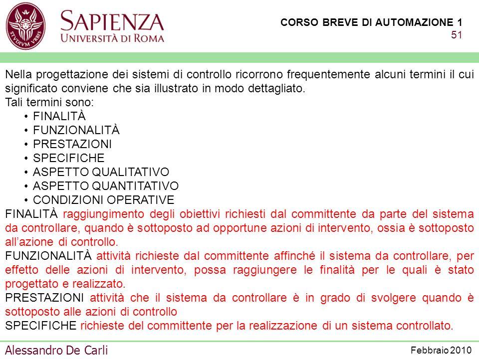CORSO BREVE DI AUTOMAZIONE 1 50 Alessandro De Carli Febbraio 2010 MINICORSO DI PRESENTAZIONE DELLINGEGNERIA DELLAUTOMAZIONE ORGANIZZAZIONE DELLE MODAL