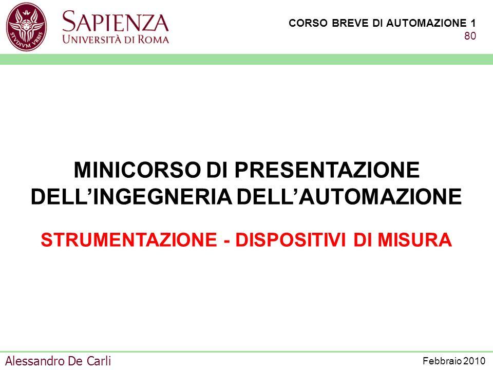 CORSO BREVE DI AUTOMAZIONE 1 79 Alessandro De Carli Febbraio 2010 VARIABILE DI GESTIONE DAGLI OPERATORI VARIABILI DI CODUZIONE DAGLI OPERATORI DALLOPE