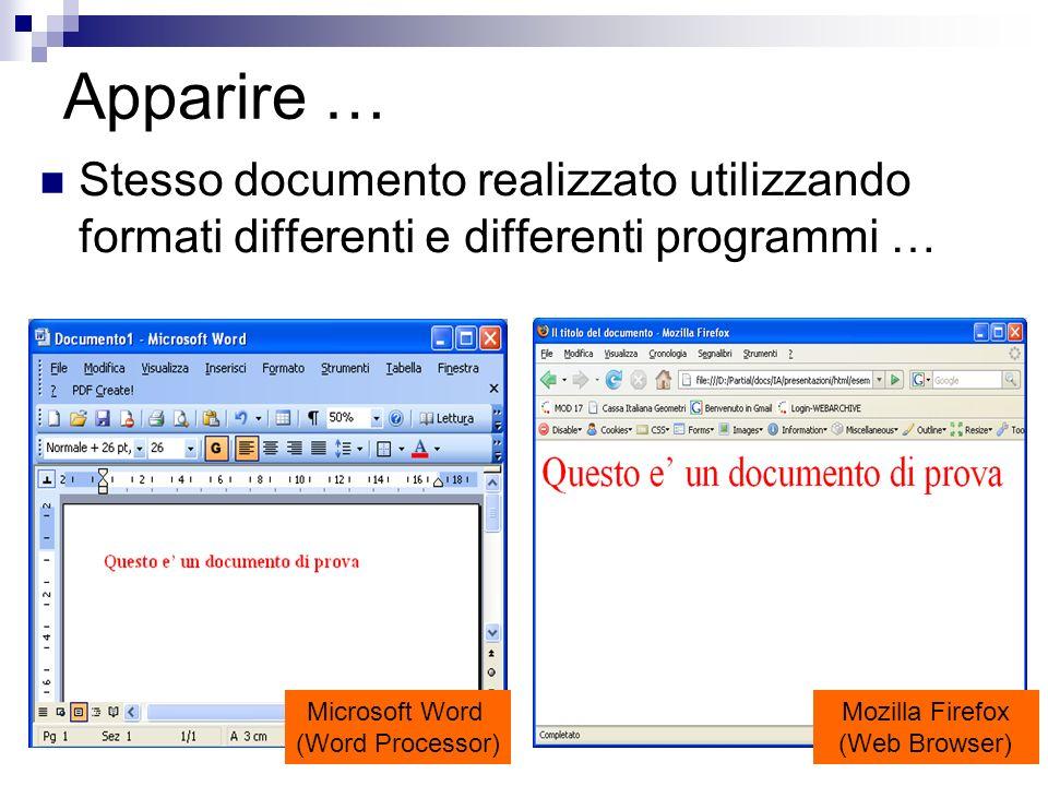 11 Apparire … Microsoft Word (Word Processor) Mozilla Firefox (Web Browser) Stesso documento realizzato utilizzando formati differenti e differenti pr